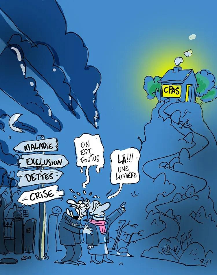 """CPAS - Illustration pour l'asbl """"Droits au quotidien"""" - ©Vincent Rif"""