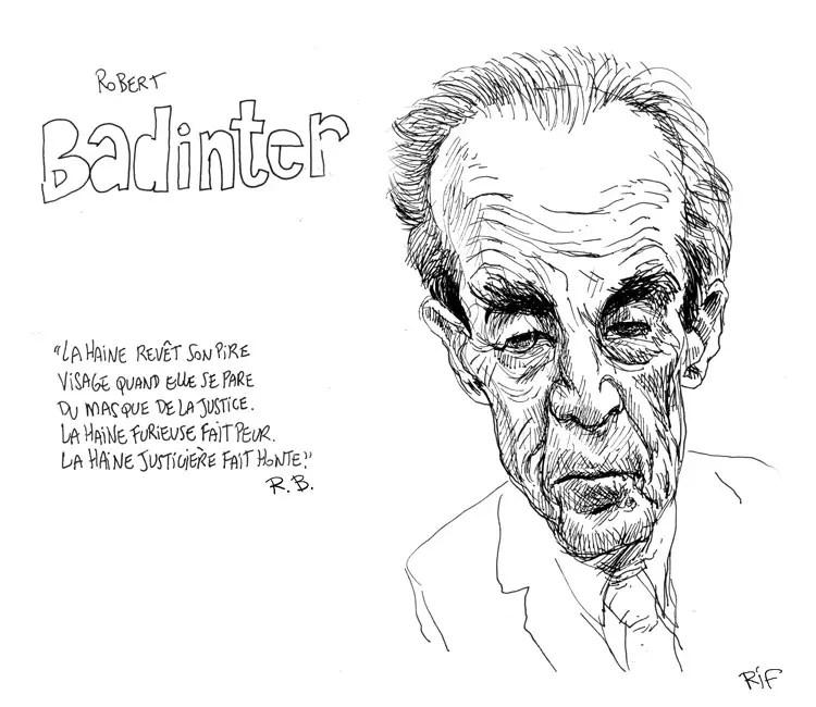 Portrait au stylo de Robert Badinter