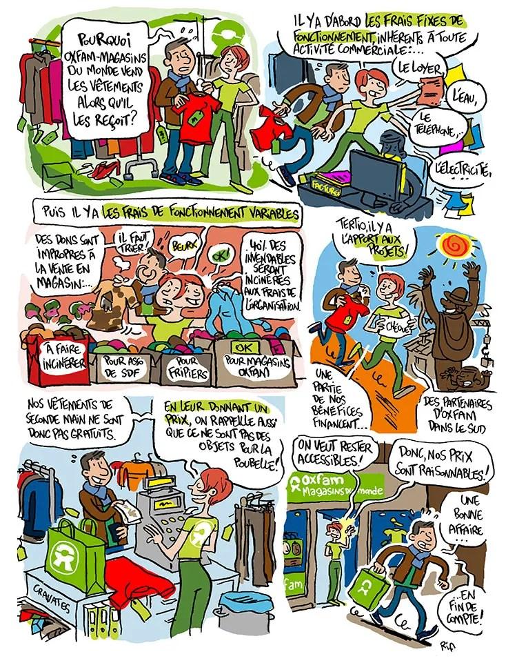 Planche de bande dessinée réalisée pour le magazine Déclic de Oxfam-Magasins du Monde