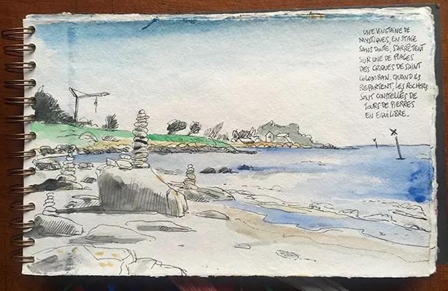 Dessin de la plage nord de Carnac - Carnet de voyage de Vincent Rif