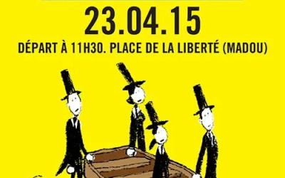 Flyer pour une manifestation contre la mort de migrants en Méditerranée