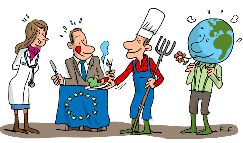 Good farming et good food for Europe. Cartoon.