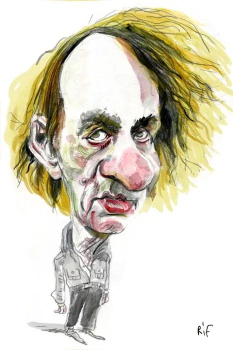Caricature de Michel Houellebecq