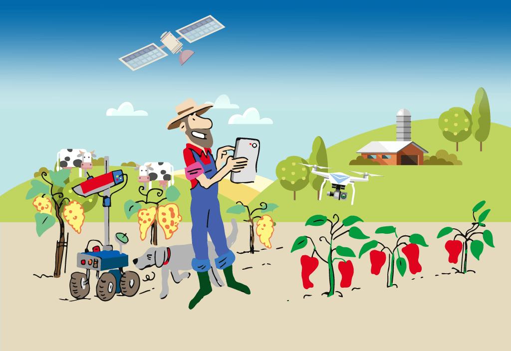 Les nouvelles technologies au service de l'agriculture. Illustration de Vincent Rif