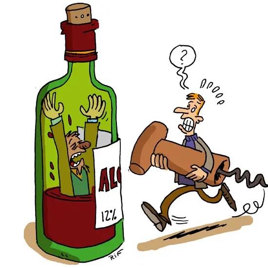 Illustration sur les effets de l'alcoolisme sur la santé pour le bimensuel En Marche.