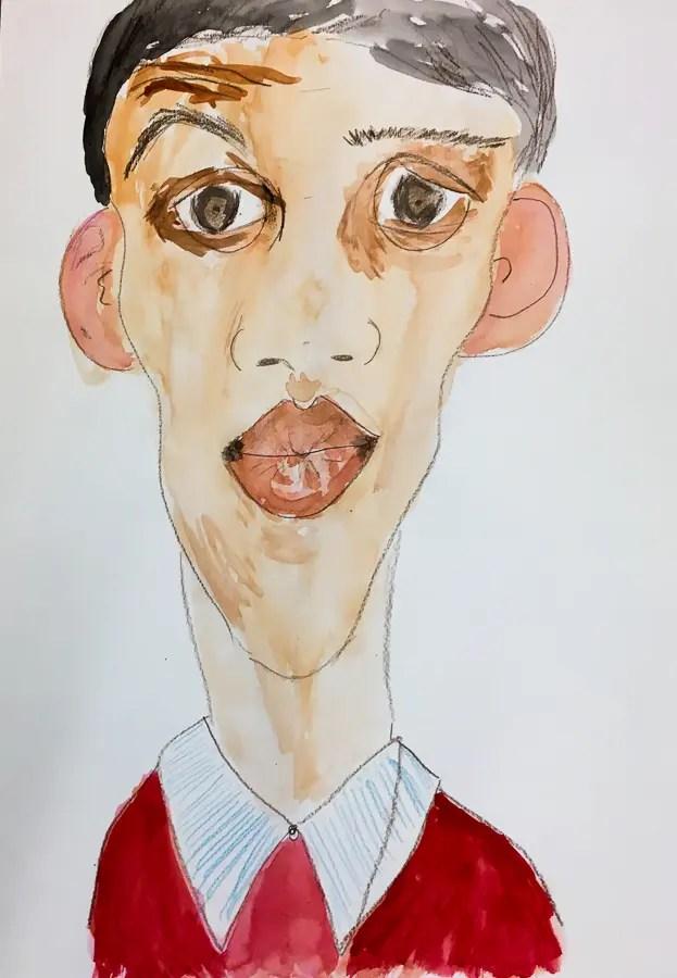 Caricature de Charles Michel par une adulte.