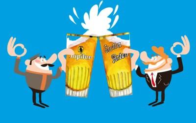 Tchin entre deux brasseurs, Jupiler et Stella Artois