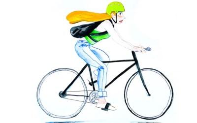 Votre portrait en vélo à l'aquarelle