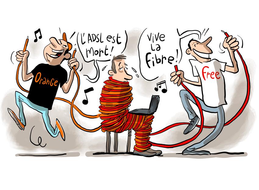 Fibre ou ADSL ? Les opéateurs Orange et Free forcent le consommateur à prendre la fibre.
