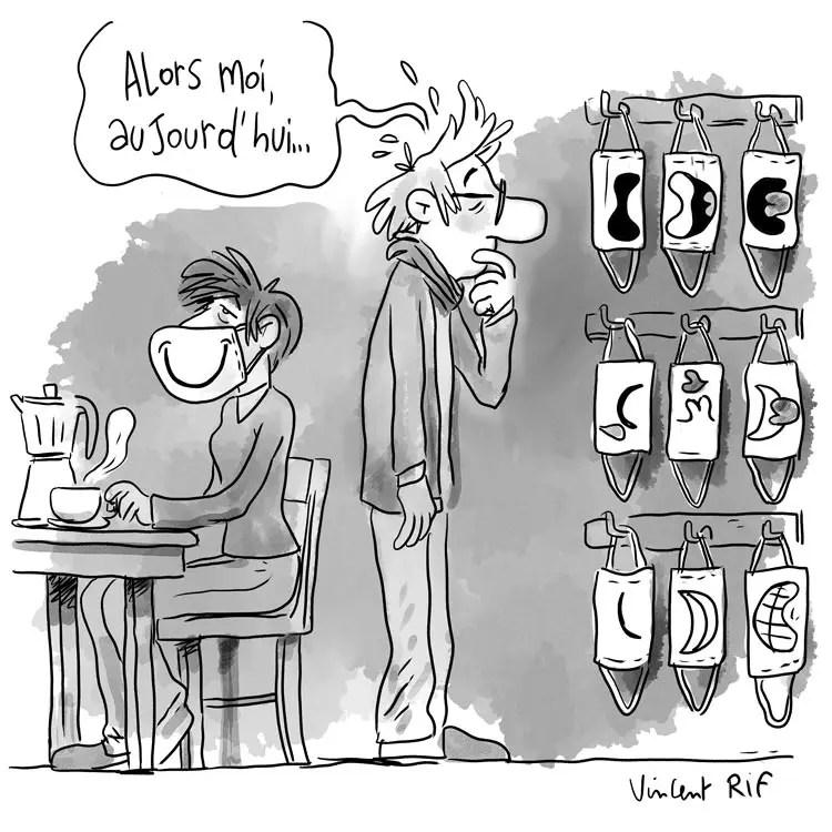 Dessin humoristique sur le masque sanitaire, nouveau geste matinal. Dessin extrait d'un carnet  d'illustration sur le confinement d'un illustrateur.