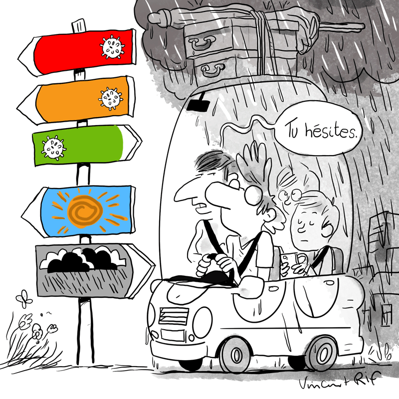 Dessin d'humour sur le couleur pour les voyages dessin voiture avec valises et paasger dépaqrt de vacances avec soleil ou pluie
