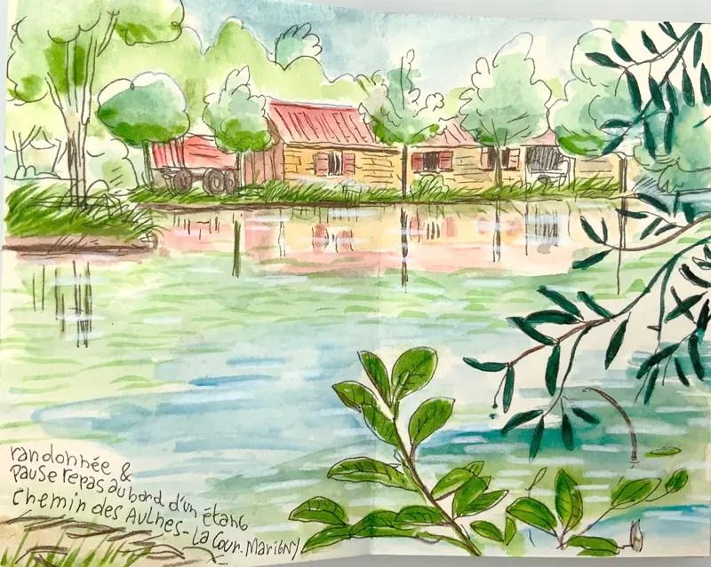 Maison d'un étang de pèche privé dans le Loiret - aquarelle sur carnet de voyage