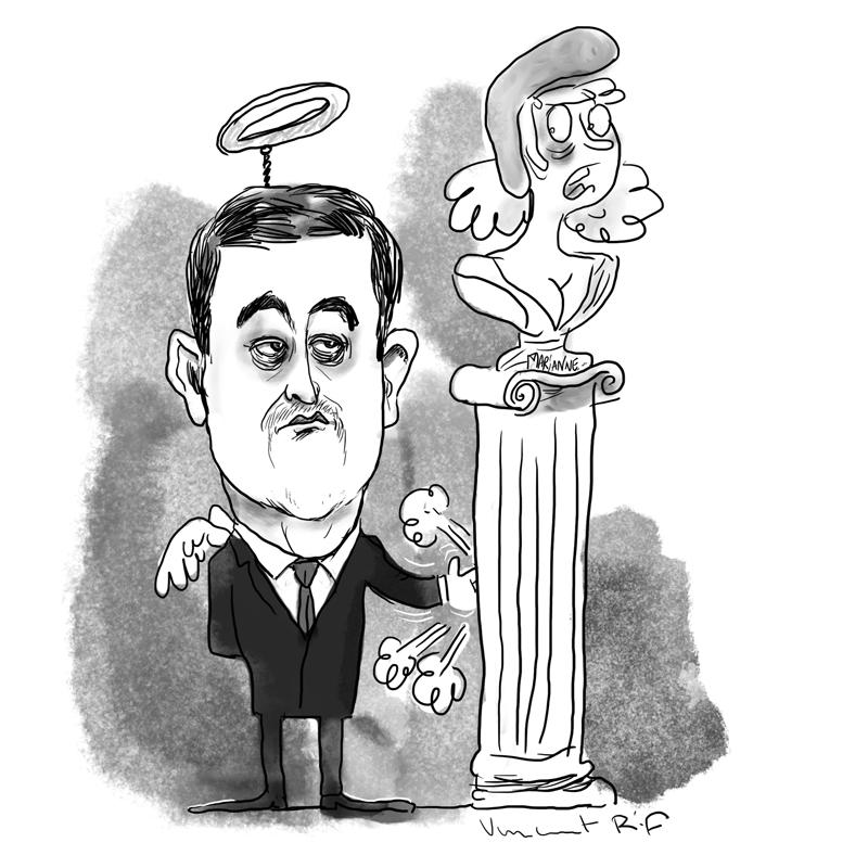Caricature animée de Gérard Darmanin, Ministre de l'Intérieur français.