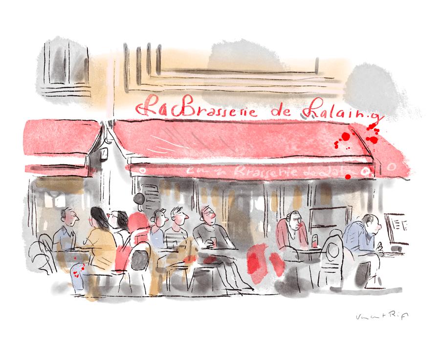 Brasserie de lalaing, schaerbeek, peinture numérique d'une terrasse de café
