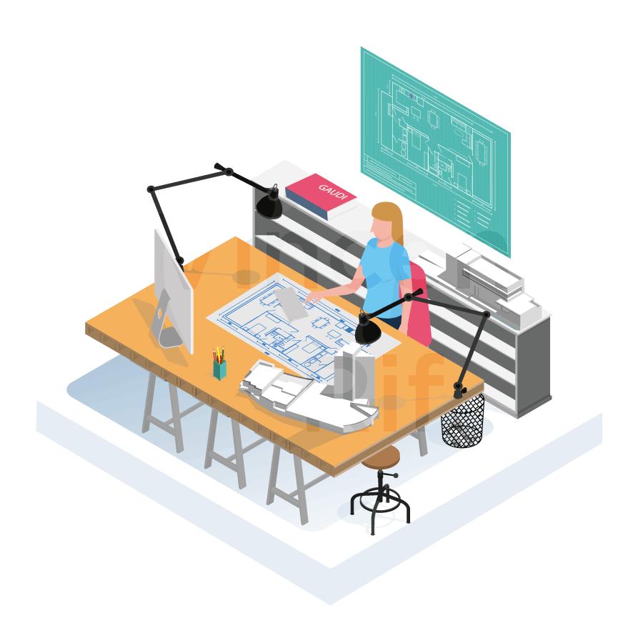 Illustration en perspective isométrique présentant les architectes d'intérieur présents dans la coopérative d'entrepreneurs Dies
