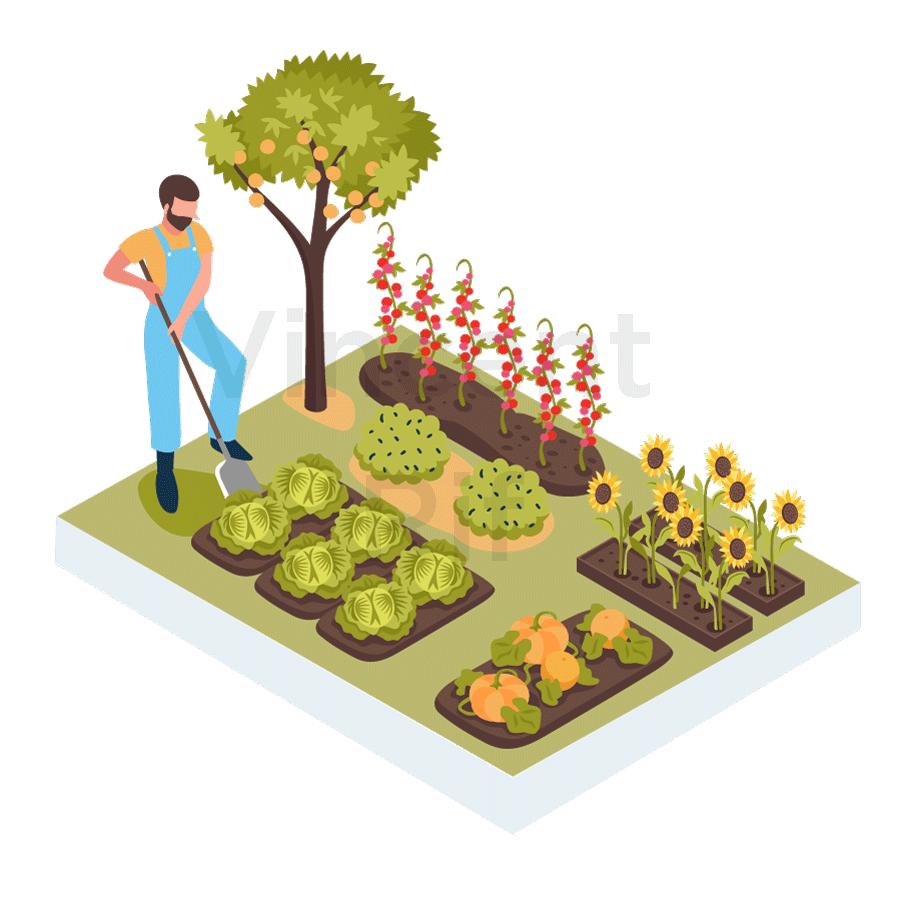 permaculture ou permaculteur, un métier sous forme d'une illustration en persepective isométrique