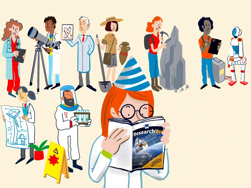 Visuel pour une carte postale célébrant l'anniversaire du centième numéro magazine Research EU. Pour l'agence Tipik