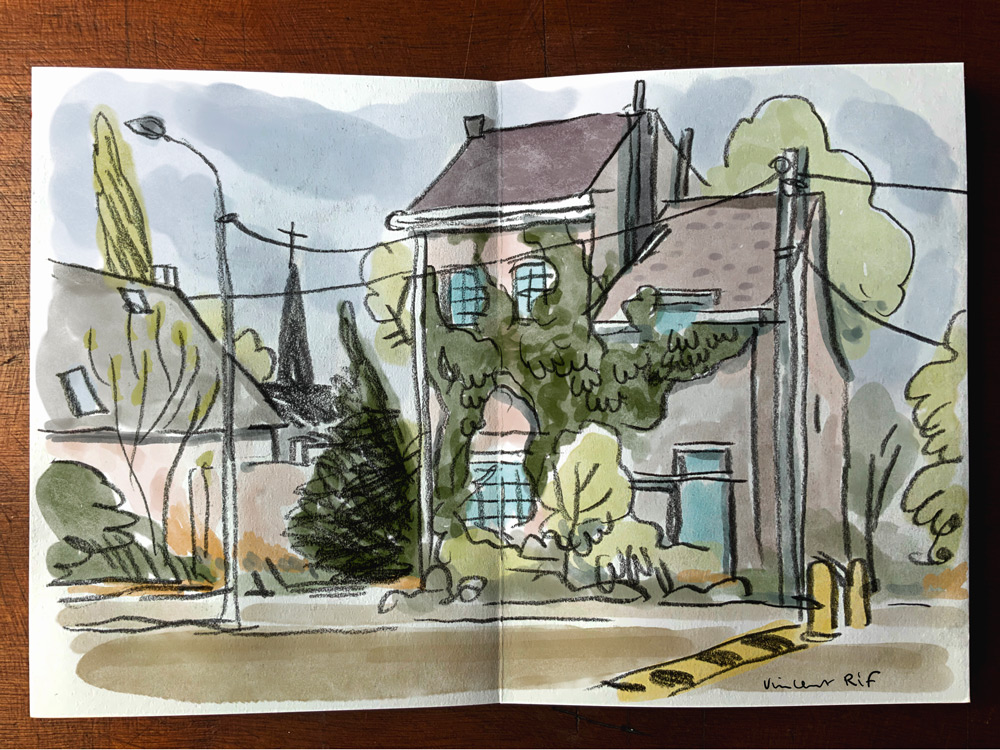 sketchbook-watercolor abandoned houses à doel, belgique, belgium photo super héros