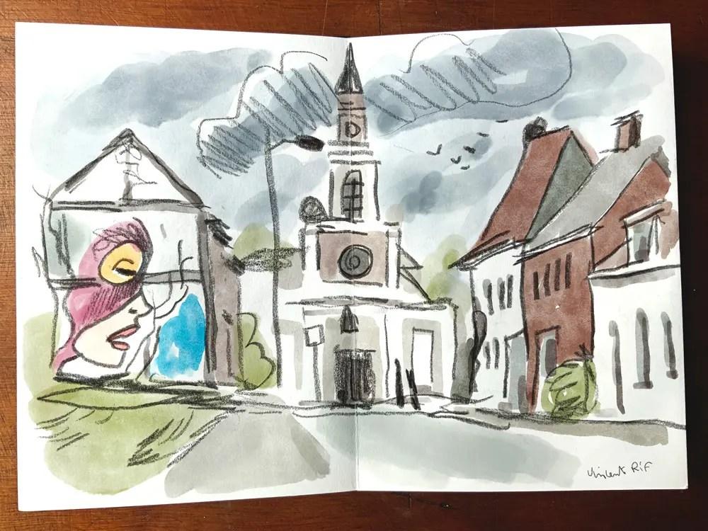 sketchbook-watercolor abandoned houses à doel, belgique, belgium