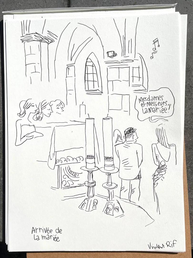 croquis et dessins de mariage en live par vincent Rif