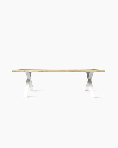 nora dining table live edge x base