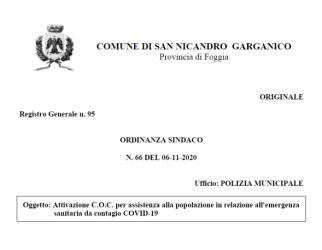 San Nicandro Garganico, riattivato il C.O.C. per emergenza Covid-19