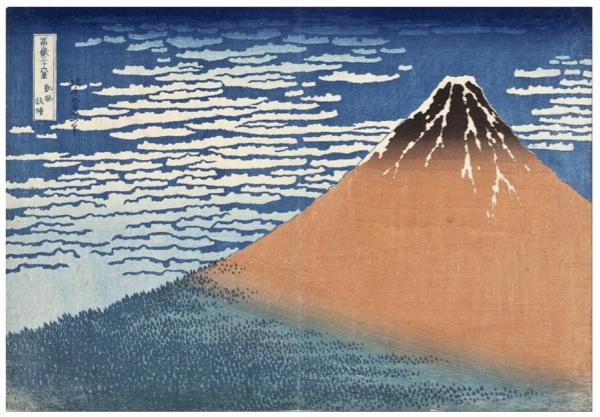 Le Fuji par temps clair, gravure sur bois, Hokusai