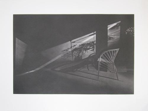 Rue du Printemps, 49,5x74cm, manière noire et aquatinte, 1991. Anne Dykmans.