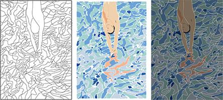 Trois étapes de la copie du poster de David Hockney pour les jeux Olympiques de 1972.