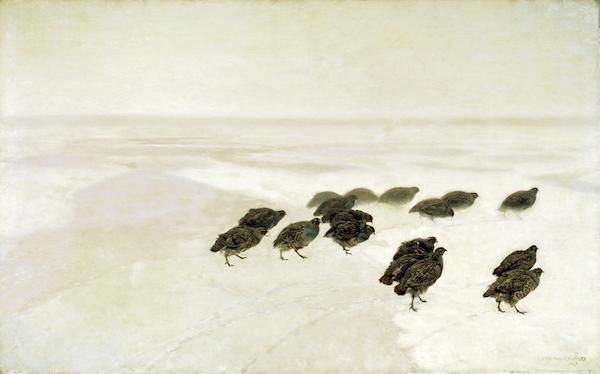 """Józef Chełmoński, """"Perdrix dans la neige"""" (1891)"""