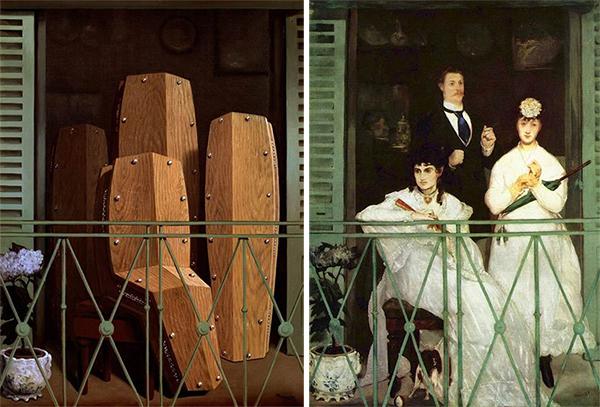 """Comparaison du tableau de Magritte, """"Perspective II. Le balcon de Manet"""", avec le balcon de Manet."""