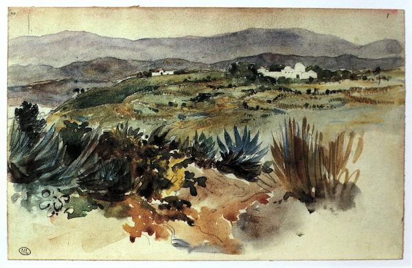 Eugène Delacroix, paysage au Maroc, aquarelle dans un carnet de croquis (1832)