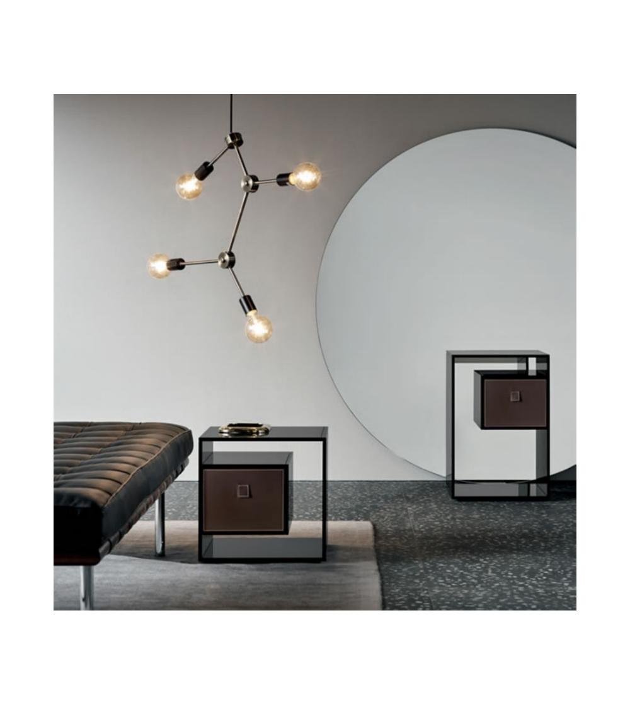 table de chevet liber e f en verre fume design tonelli