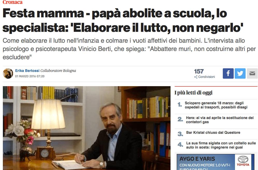"""Ozzano, abolite la festa della mamma e del papà: il parere dello specialista """"Festa mamma – papà abolite a scuola, lo specialista: 'Elaborare il lutto, non negarlo"""""""