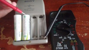 Charged batteries multimeter reading