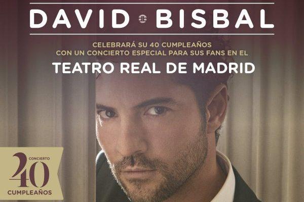 David Bisbal actuará en el Teatro Real de Madrid el próximo 5 de junio, con motivo de su 40 cumpleaños