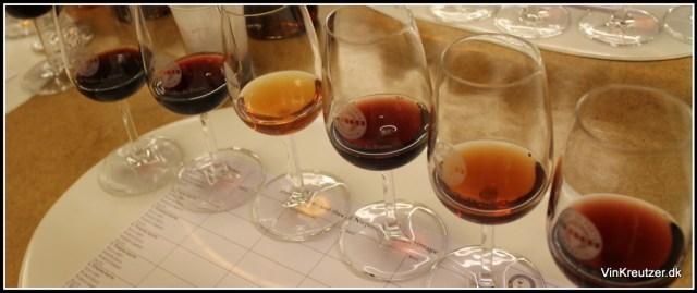 Farve på vinene fra højre mod venstre 1978 - 1992