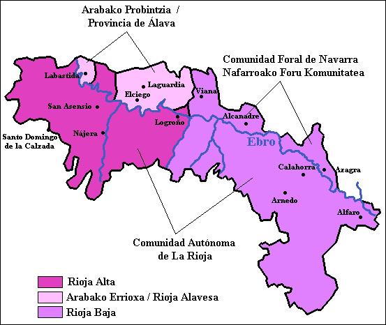 Mappa della Rioja Doca