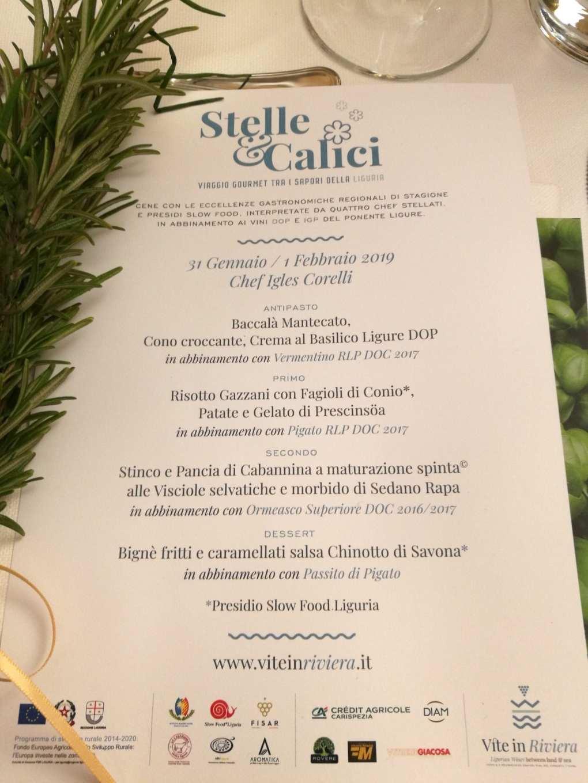 La tavola di Stelle&Calici con Igles Corelli