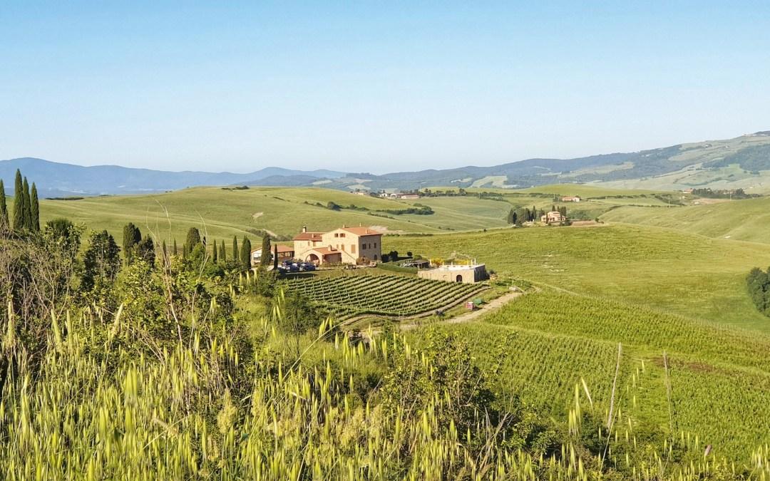 Podere Marcampo sullo sfondo e le colline di Volterra tutte attorno