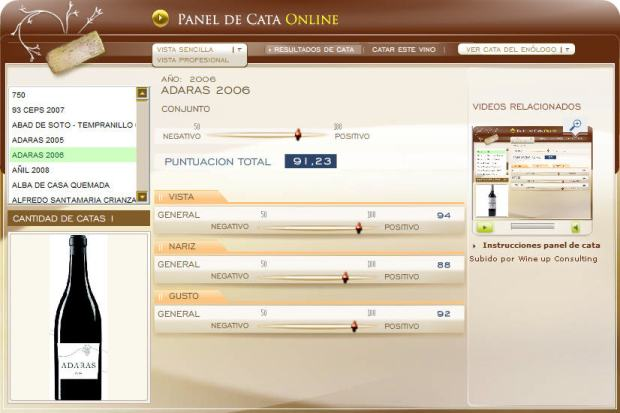 imagen del panel de catas online