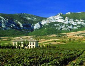 Torre de Oña y la Sierra de Cantabria al fondo