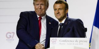 US president Donald Trump and French president Emmanuel Macron in happier times; at the G7 summit in Biarritz in August 2019. Credit: NurPhoto / Getty Images