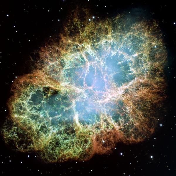 Nébuleuse du Crabe - Wikipédia - NASA, ESA, J. Hester and A. Loll (Arizona State University) — HubbleSite: gallery, release.