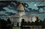 State Capitol by Moonlight Vintage California Postcard