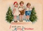 Christmas Caroling Kids Vintage Postcard