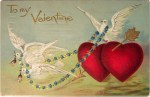 Vintage Valentine's Day Postcard of Doves and Hearts