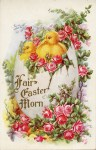 Easter Chicks and Roses Vintage Postcard