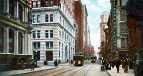 Vintage 1900s Postcard of Downtown Pittsburgh City Streets
