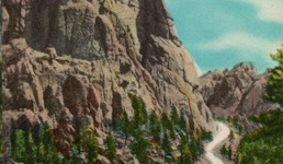 Vintage Postcard of the Highway to Mt. Rushmore